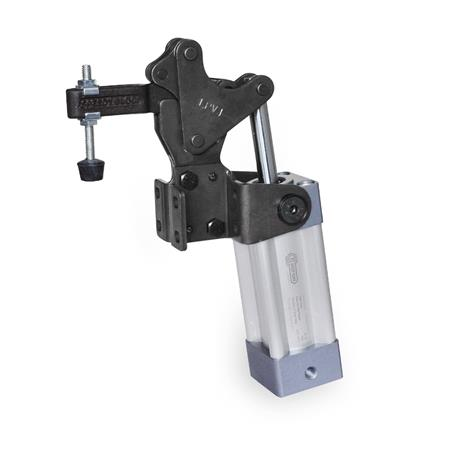 GN 962 Steel Heavy Duty Pneumatic Toggle Clamps, with Vertical Mounting Base, with Magnetic Piston Type: CPV - Clamping arm with slotted hole, with two flanged washers and GN 708.1 spindle assembly