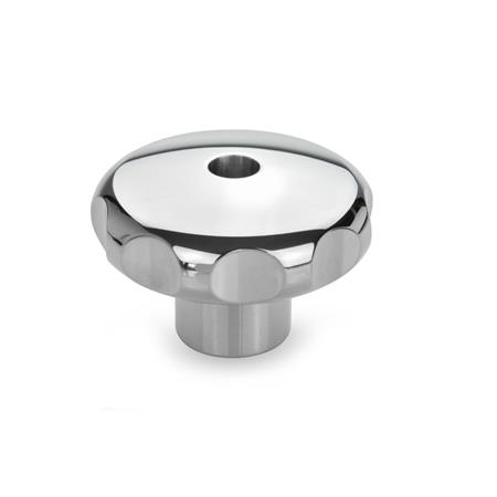 GN 5335 Stainless Steel AISI 303 Star Knobs, Highly Polished Finish, with Tapped Through or Tapped Blind Bore Type: D - With tapped through bore