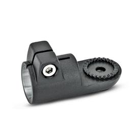 GN 276 Aluminum, Swivel Clamp Connectors, Round Bore Type Type: AV - with male serration<br />Finish: SW - Black, RAL 9005, textured finish<br />Identification No.: 2 - With stainless steel clamping screw DIN 912