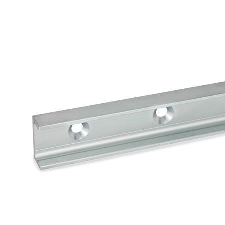 GN 2422 Medidas métricas, acero, rieles de guías lineales de rodillos, para sistemas de guías lineales de rodillos con perfil C Tipo: UV - Riel de carga flotante, con agujero de montaje para tornillo avellanado
