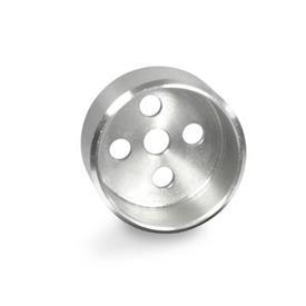 GN 187.1 Alojamientos guía de acero inoxidable, para placas de bloqueo dentadas GN 187.4 Material: NI - Acero inoxidable