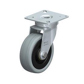 LPA-VPA Rodajas giratorias de acero con ruedas caucho gris de servicio ligero, con placa de montaje, serie de soportes estándar Type: K - Cojinete de bolas