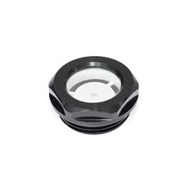 GN 743 Aluminum Fluid Level Sight Glasses, With Natural Glass, resistant up to 212° F (100° C), black anodized