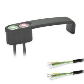 """GN 422 Jaladeras en """"U"""" para gabinete en zinc fundido a presión, con función de conmutación de potencia, con cable de PUR Tipo: T2 - Con 2 botones<br />Color: SW - Negro, RAL 9005, acabado texturizado"""