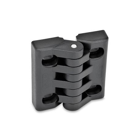 EN 151.4 Technopolymer Plastic Hinges, Adjustable, with Slotted Holes Type: B - Horizontal slots