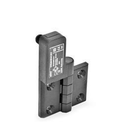 EN 239.4 Bisagras con interruptor integrado de plástico tecnopolímero, con clavija conectora M12x1 Identificación: SL - Orificios para tornillo avellanado, interruptor a la izquierda<br />Tipo: CS - Conector en la parte trasera