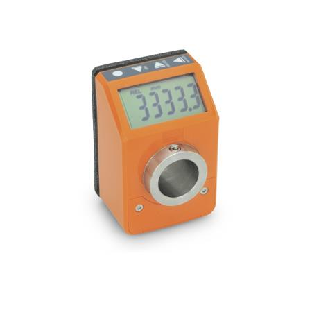 EN 9053 Technopolymer Plastic Digital Position Indicators, Electronic, with LCD-Display Color: OR - Orange, RAL 2004