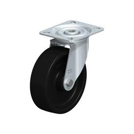 LI-PHN Rodajas giratorias con estampado de acero zincado con rueda de plástico fenólico negro, de servicio medio y resistente al calor, con placa de montaje