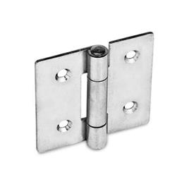 GN 136 Bisagras de chapa metálica de acero inoxidable, extendido en cuadrado o verticalmente Material: NI - Acero inoxidable<br />Tipo: C - Con agujeros avellanados