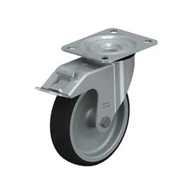 LE-PATH Steel Medium Duty Swivel Polyurethane Treaded Casters, with Plate Mounting Type: G-FI - Plain Bearing with Stop-Fix Brake