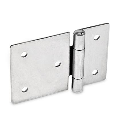 GN 136 Stainless Steel Sheet Metal Hinges, with Extended Hinge Wing, Bores for Cylinder Head Screws or Countersunk Screws Material: NI - Stainless steel Type: B - With through holes