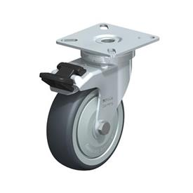 LPA-TPA Steel Light Duty Swivel Casters, with Thermoplastic Rubber Wheels and Plate Mounting, Standard Bracket Series Type: K-FI-FK - Ball Bearing with Stop-Fix Brake, with Thread Guard