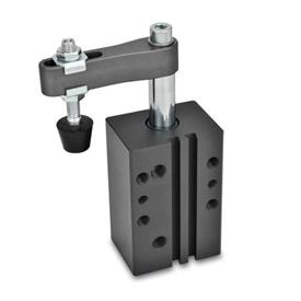 GN 875 Aluminum Pneumatic Swing Clamps, Rectangular Block Style Type: AC - Clamping arm with slotted hole, with two flanged washers and GN 708.1 spindle assembly