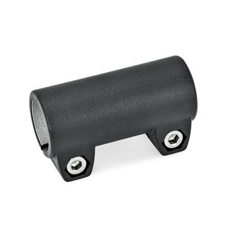 GN 242 Aluminum, Tube Connectors Finish: SW - Black, RAL 9005, textured finish Identification No.: 2 - with 2 Stainless Steel-clamping screws DIN 912