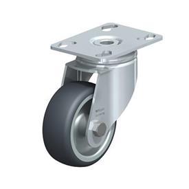 LKPA-TPA Rodajas giratorias de acero de servicio ligero, con ruedas de caucho termoplástico y soportes pesados Type: G - Cojinete liso