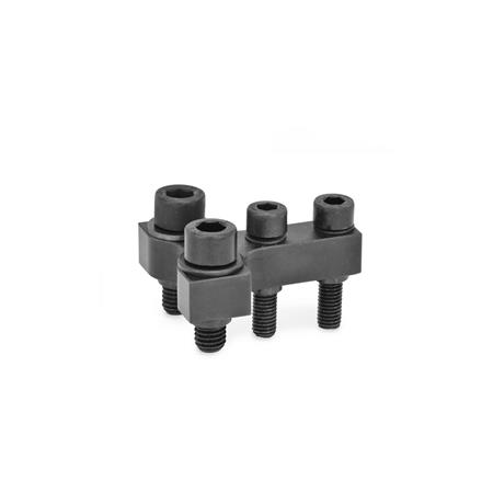 GN 868 Steel, Gripper Jaw Block Brackets for GN 864 / GN 865 / GN 866 Pneumatic Fastening Clamps Type: R - Jaw blocks at right angle to clamping arm