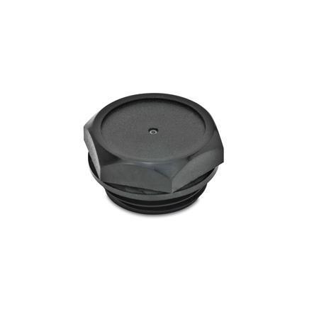 EN 745 Tapones roscados de plástico tecnopolímero, con sellado plano Identificación núm.: 1 - Sin perforación para ventilación