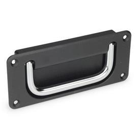 GN 425.8 Jaladeras abatibles con base embutida de acero o acero inoxidable Material de jaladera: CR - Acero, acabado cromado<br />Acabado de base: SW - Negro, RAL 9005, acabado texturizado