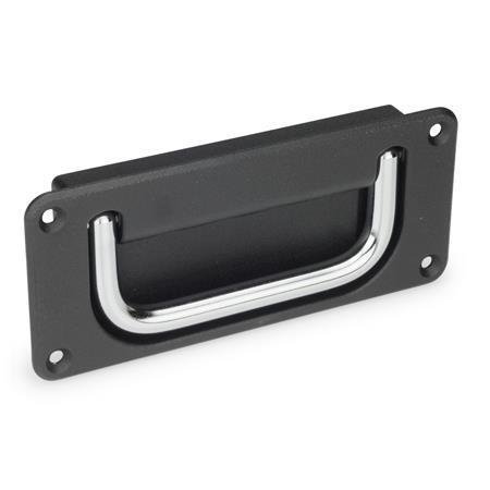 GN 425.8 Jaladeras abatibles con base embutida de acero o acero inoxidable Material de jaladera: CR - Acero, acabado cromado Acabado de base: SW - Negro, RAL 9005, acabado texturizado