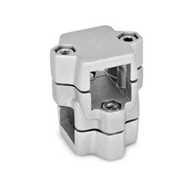 GN 134 Aluminum, Split Assembly, Round and/or Square Bore, Two-Way Connector Clamps Square s<sub>1</sub>: V 40<br />Finish: BL - Blank