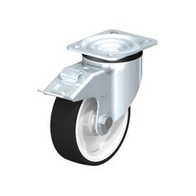 LK-POTH Rodajas giratorias de acero con rueda con banda de poliuretano de servicio medio, con placa de montaje, serie de soportes de servicio medio-pesado Type: K-FI - Cojinete de bolas con freno «stop-fix»