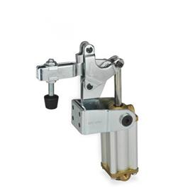 GN 862 Steel Pneumatically Toggle Clamps, with Vertical Mounting Base with Magnetic Piston Type: CPV3 - U-bar version, with two flanged washers and GN 708.1 spindle assembly