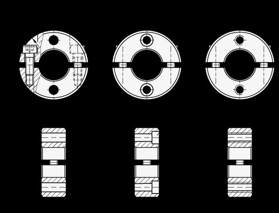 GN 7072.2 Collares de fijación partidos de dos piezas de acero inoxidable, con agujeros con brida boceto