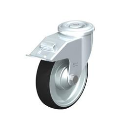 LER-PATH Steel Swivel Polyurethane Treaded Casters, with bolt hole fitting Type: K-FI - Ball Bearing with Stop-Fix Brake