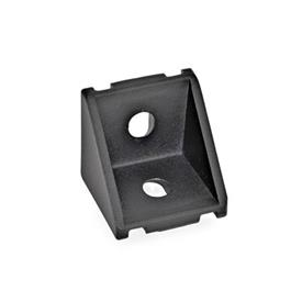 GN 961 Aluminum, Angle Brackets, For 30/40 mm Aluminum Profile Systems Type of angle piece: A - without assembly set, without cover<br />Finish: SW - Black, RAL 9005, textured finish