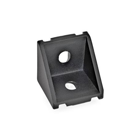 GN 961 Aluminum, Angle Brackets, For 30/40 mm Aluminum Profile Systems Type of angle piece: A - without assembly set, without cover Finish: SW - Black, RAL 9005, textured finish