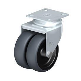 LDA-TPA Rodajas giratorias de acero con ruedas gemelas de servicio ligero, con placa de montaje, serie de soportes estándar Type: G - Cojinete liso