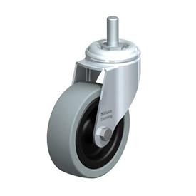 LKRA-VPA Steel Light Duty Gray Rubber Wheel Swivel Casters, with Bolt Hole or Threaded Stud Mounting, Heavy Bracket Series Type: G-GS - Plain Bearing with Threaded Stem