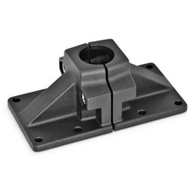 GN 167 Aluminum, Split Assembly, Wide Base Plate Connector Clamps Finish: SW - Black, RAL 9005, textured finish
