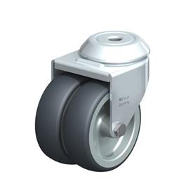 LMDA-TPA Steel, Light Duty Twin Wheel Swivel Casters with Thermoplastic Rubber Wheels and Bolt Hole Fitting, Standard Bracket Series  Type: G - Plain Bearing