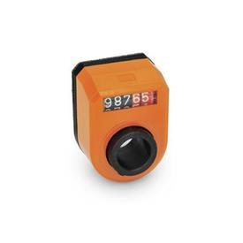 EN 953 Indicadores de posición digitales de plástico tecnopolímero, pantalla de 5 dígitos Instalación (vista anterior): FN - en el frente, arriba<br />Color: OR - Naranja, RAL 2004