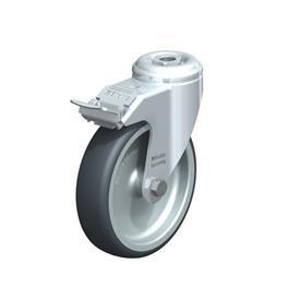 LKRA-TPA Rodajas giratorias de acero de servicio ligero, con ruedas de caucho termoplástico y ajuste con agujero para perno, serie de soportes pesados  Type: G-FI - Cojinete liso con freno «stop-fix»