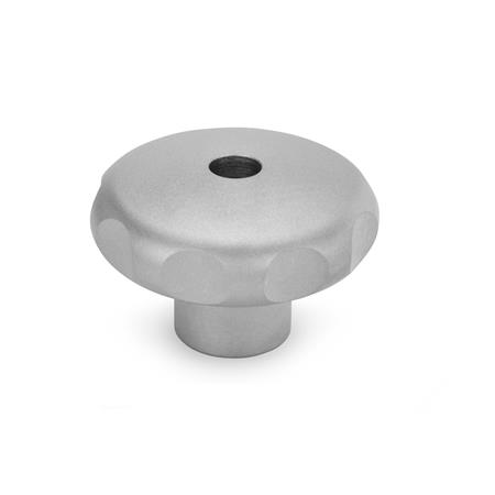 GN 5335 Stainless Steel AISI 303 Star Knobs, Matte Shot-Blasted Finish, with Tapped or Plain Bore Type: D - With tapped through bore