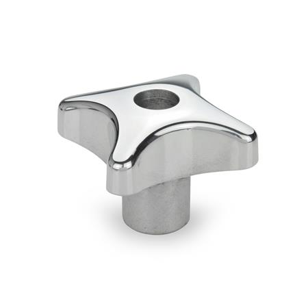 DIN 6335 Aluminum Hand Knobs, with Tapped or Plain Bore Type: D - With tapped through bore Finish: PL - Polished finish