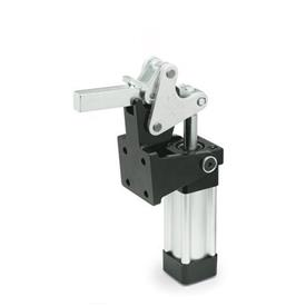 GN 863 Steel Heavy Duty Pneumatic Toggle Clamp, Heavy Duty Type with Magnetic Piston, with Vertical Mounting Base