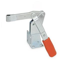 GN 812 Steel Vertical Acting Toggle Clamps, with Dual Flanged Mounting Base Type: EV - Solid bar version, with clasp