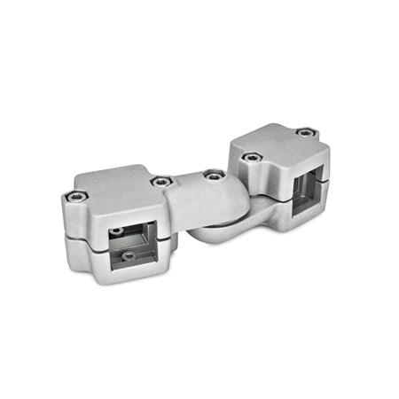 GN 289 Aluminum, Split Assembly, Swivel Clamp Connector Joints  Square s<sub>1</sub>: V 45 Type: S - stepless adjustment Identification no.: 2 - with 5 Stainless Steel-clamping screws DIN 912 Finish: BL - Blank
