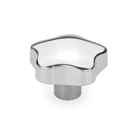 GN 5336 Aluminum Star Knobs, with Tapped or Plain Bore Type: C - With plain blind bore, tol. H7 Finish: PL - Polished finish