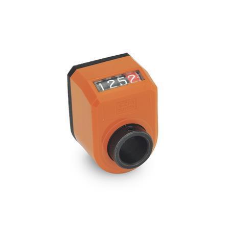 EN 954 Indicadores de posición digitales de plástico tecnopolímero, pantalla de 4 dígitos Instalación (vista anterior): AN - En el chaflán, arriba Color: OR - Naranja, RAL 2004