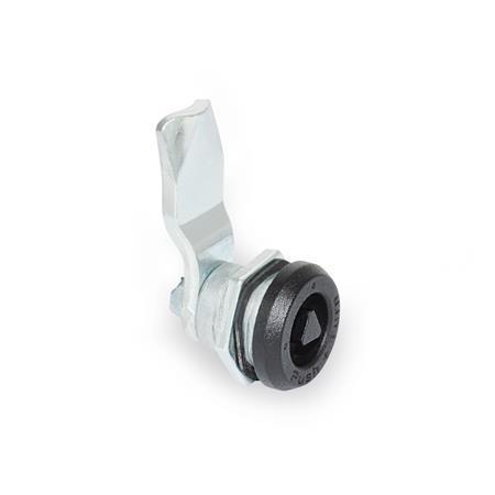 GN 115.9 Cerrojos de leva con función de seguridad de zinc fundido a presión, anillo de posicionamiento revestido de polvo, funcionamiento con llave de dado Tipo: DK - Funcionamiento con eje triangular (DK7)