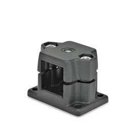 GN 147.7 Aluminum Flanged Connector Clamps, with Locating Option Type: G - With thread<br />Color: SW - Black, RAL 9005, textured finish