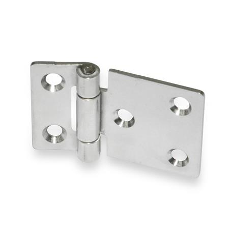 GN 136 Stainless Steel Sheet Metal Hinges, with Extended Hinge Wing, Bores for Cylinder Head Screws or Countersunk Screws Material: NI - Stainless steel Type: C - With countersunk holes