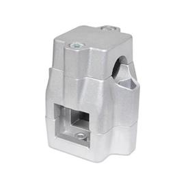 GN 135 Aluminum Two-way connector clamps, multi part assembly, unequal bore dimensions