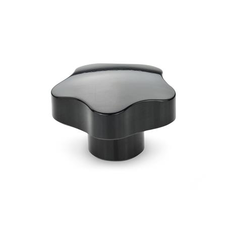 EN 5337 Phenolic Plastic Solid Five-Lobed Knobs, with Brass Blind or Through Tapped Insert Type: E - With tapped blind bore