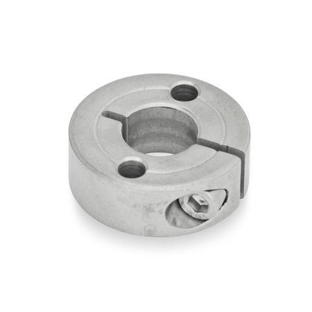 GN 7062.2 Collares de fijación semipartidos de acero inoxidable, con agujeros con brida Tipo: A - Con dos agujeros pasantes