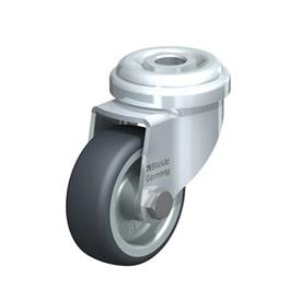 LRA-TPA Steel Light Duty Swivel Casters with Thermoplastic Rubber Wheels, and Bolt Hole Fitting  Type: G - Plain Bearing